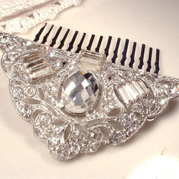 1920s Vintage Rhinestone Bridal Hair Comb, Art Deco Great Gatsby Silver Flapper Fan Fur Clip to OOAK Vintage Wedding Headpiece Hair Comb