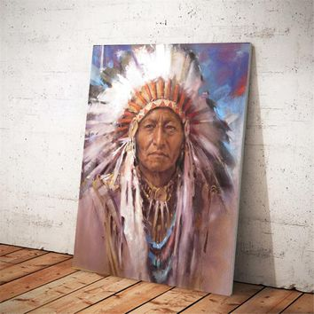 Native Indian Feathered Portrait Pop Art Canvas Painting Posters and Prints Wall Art Picture for Living Room Home Decor No Frame