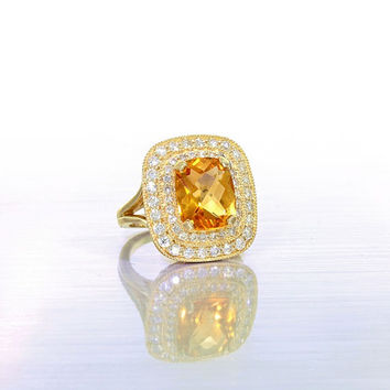 14k yellow gold diamond and citrine cocktail ring. citrine ring, diamond ring, fancy ring