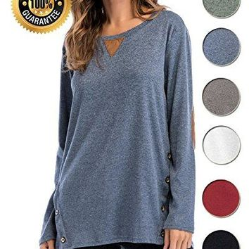 LOVEJIE Womens Long Sleeve Casual Tops Tunic Faux Suede Shirt Blouse Side Buttons Loose TShirt Elbow Patched Sweatshirt