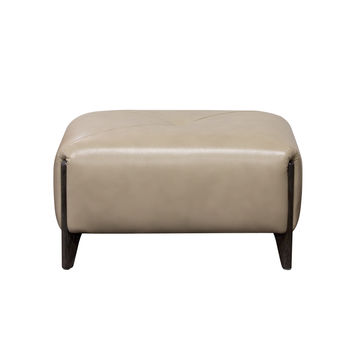 Monaco Rectangular Ottoman in Tan Blended Leather with Ash Wood Trim & Leg by Diamond Sofa