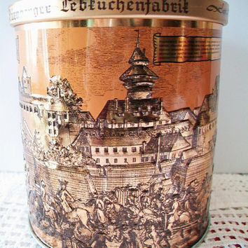 Gottfried Wicklein German Biscuit Tin Copper Kitchen Storage Canister Collectible Home Decor