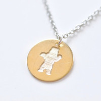 Engraved Charm Necklace - Grizzly Bear