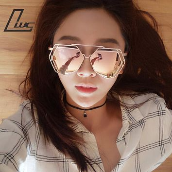 Brand Designer 2017 New Big Mirror Sunglasses Women Hexagon Lovers Hippie Ladies Sunglasses UV400 Pilot Rose Gold Sun Glasses