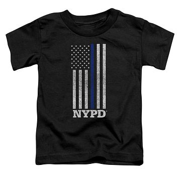 NYPD Toddler T-Shirt Thin Blue Line American Flag Black Tee