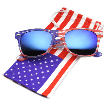American Flag USA Patriotic Flash Mirror Lens Horn Rimmed Sunglasses