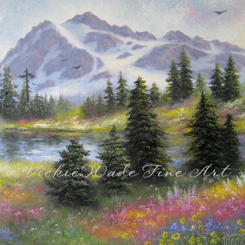 Mount Shuksan Original Oil Painting 24X30 landscape mountain art meadow trees flowers, Vickie Wade art