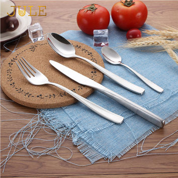 Dinnerware Set 24 Pieces Luxury Steel Cutlery Set Vintage Quality Tableware Knife Fork Dining Dinner Sets for Restaurant