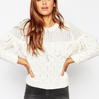 ASOS Cable Jumper With Fringing