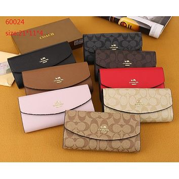 """Coach"" Women Fashion Big Letter Long Section Multi-card Bit Cloth Purse Button Three Fold Wallet Handbag"