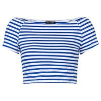 Stripe Bardot Crop - Jersey Tops  - Clothing