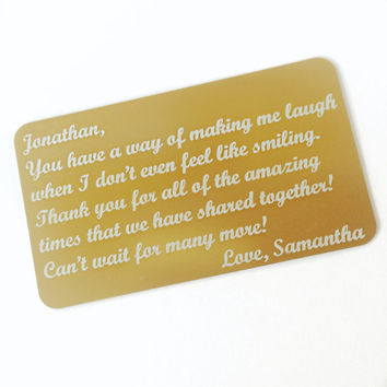 Gold Wallet Card, Your Message Etched onto Aluminum, gifts for him, father's day, gift for her, gift for mom, grandparents, quote,