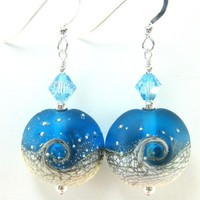 Blue White Ocean Earrings, Wave Lampwork Bead Earrings, Beach Earrings, Summer Earrings, Dangle Earrings - Tidal Wave