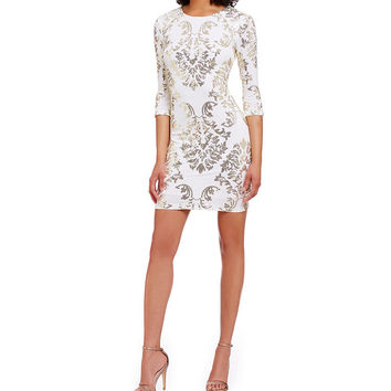 B. Darlin Metallic Sequin Mirror Print Sheath Dress | Dillards