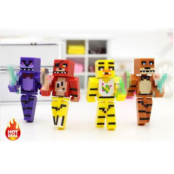 4pcs/set Minecraft Five Nights At Freddy's 4 FNAF Foxy Chica Bonnie Freddy Action Figures Kid Toy #E