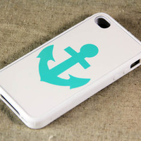 Unique Teal Anchor iPhone 4 iPhone 4S Case, Black Rubber Material Case