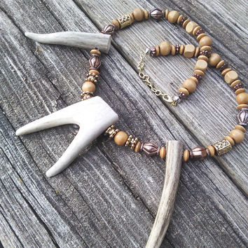 Deer Antler Fork Necklace,Bone Necklace,Horn Necklace,Real Animal Bone Jewelry,Tribal Necklace,Shaman Pagan Warrior Gypsy Larp Cosplay