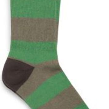 Sperry Top-Sider Stripe Cushioned Crew Sock Brindle/JellyBean, Size One Size  Men's