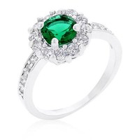 Emmelina 2.5ct Emerald CZ White Gold Rhodium Floral Ring