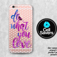 Do What You Love Purple Clear Case iPhone 7 iPhone 6s iPhone 6 iPhone 6 Plus iPhone 6s iPhone 5c iPhone 5 iPhone SE Polka Dot Pattern Quote