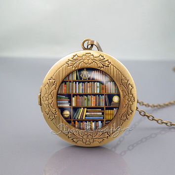 Bookshelf Photo Locket Necklace,Book library Books Lovers author,vintage pendant Locket Necklace