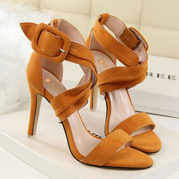 LADY SEXY PARTY OPEN TOE BRIDAL Flock HIGH HEELS SHOES SANDALS [9511450253]