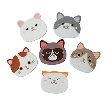 Yunko Qute Cat Cup Mat Silicone Rubber Coaster for Wine Glass Tea Best Housewarming Beverage Drink Beer Home House Kitchen Decor  Wedding Registry Gift Idea