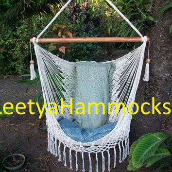 Chair hammocks with macrame decor /hammocks chair / Beige hcnging decor/Indoor outdoor chair hammock/ Handwoven chair swing/ Forniture beige
