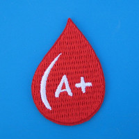 Iron-on Embroidered Patch Blood Type (option A, B, O, AB positive) 2 inch