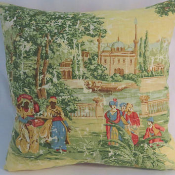 "Pictorial Toile Pillow, Covington Far Pavilions, Yellow Green Red Brown Blue, Palace & People, Reverse Stripe, 17"" Sq. Ready Ship (A)"