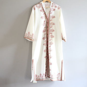 White embroidery bohemian hippie BOHO gypsy ethnic afghan kuchi cotton festival maxi dress size small medium large