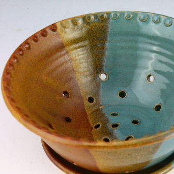 Berry Bowl / Colander in blue and brown glaze by NewDayPottery