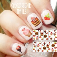 Sweety Strawberry Nail Stickers Heart Shape Cakes Cupcakes Pattern Nail Art Stickers Nail Water Transfer Stickers Decals BOP-011