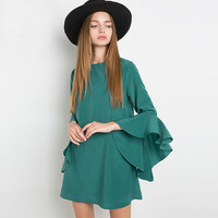 Green Lotus Sleeve Chiffon Dress