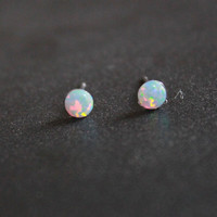 Tiny Studs, Post Earrings, Small Opal stud earrings, Surgical steel
