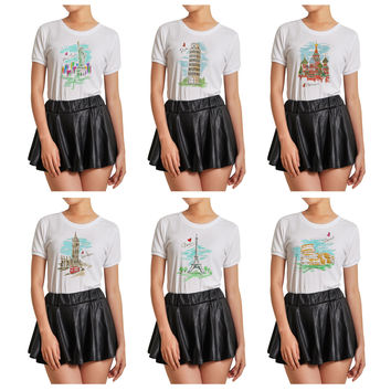 Women Cities's drawing-3 Graphic Printed Short Sleeves T- Shirt WTS_07