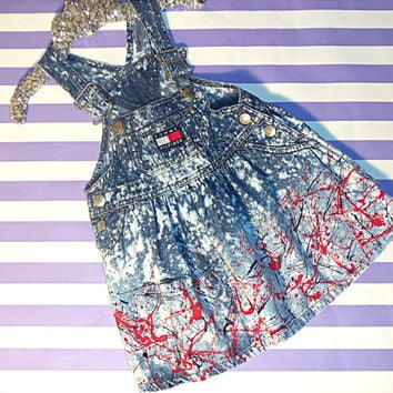 Upcycled Tommy Overall dress bleached distressed splatter paint denim girls trendy hip red navy blue 4th july chucks bling
