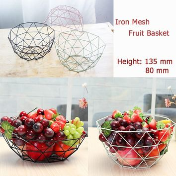 ( 80/135mm Height) Simple Iron Mesh Fruit Basket Bowl Living Room Hotel Snack Tray Home Kitchen Table Decorations Party Supplies