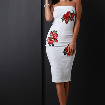 Floral Applique Quilted Tube Midi Dress | UrbanOG