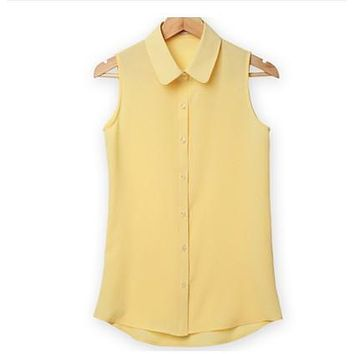 Women Sleeveless Turn-down Chiffon Blouse Summer Shirt Blusas Femeninas  Solid Vest Tops Camisa De Chifon Feminina