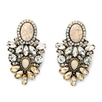 ESTELLE STONE ACCENT DROP EARRINGS - CRYSTAL + BEIGE