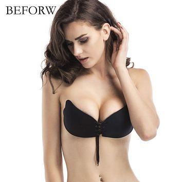 BEFORW Seamless Halter Bra Wedding Invisible Fly Bras Pull Rope Push Up Bra Strapless Wire Free Underwear Women ABCD cups