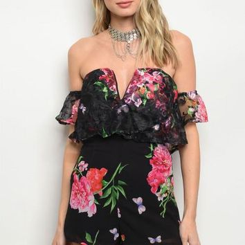 Women Black Floral Off Shoulder Romper Jumpsuit Fitted Slim Casual Plunge Neck