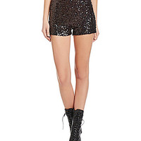 French Connection Cosmic Sparkle Sequined Shorts - Black Hologram