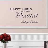 3 Happy girls are the prettiest. Audrey Hepburn. Vinyl wall art Inspirational quotes and saying home decor decal sticker:Amazon:Home & Kitchen