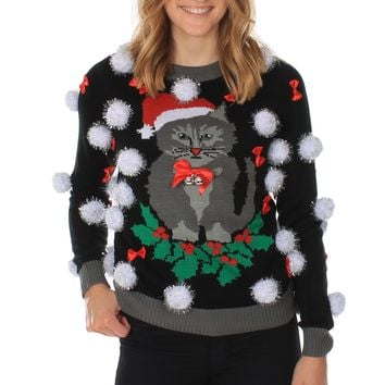 Women's Ugly Cat Christmas Sweater w/ Bells