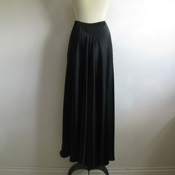 Vintage 1980s Black Skirt HOAX couture Black Satin Designer Maxi Evening Skirt Small