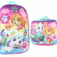 Licensed Nickelodeon Girls Paw Patrol School Backpack and Lunch Bag Set