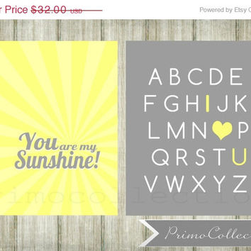 Nursery Wall Art Prints / set of 2 / you are my sunshine /alphabet / 8x10 inch / yellow and gray / abc's / baby boy / boy's room decor