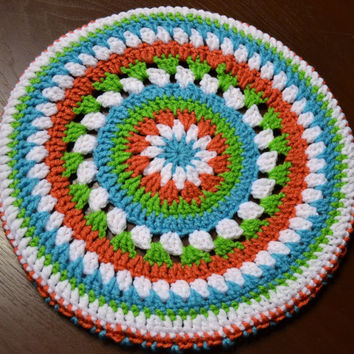 Crochet Stool Cover Mandala Granny Square Shabby Chic Cottage Custom Order Littlestsister